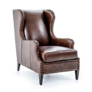 Century Century Trading Company Leather Wing Chair