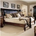 Century Consulate King Upholstered Napoleon Bed with Leather - Item Number: 59-156