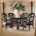 Century Consulate Hortense Round Dining Table and 4 Arm Chairs - Item Number: 59-306+4x542