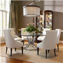 Century Omni Upholstered Dining Chair - Shown as Set with Metal Base Dining Table with Glass Top