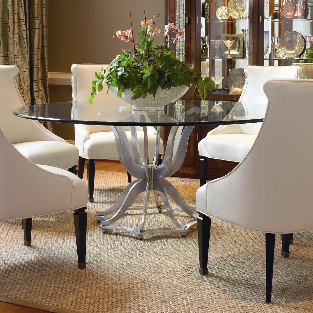 Century Omni Metal Base Dining Table with Glass Top ...