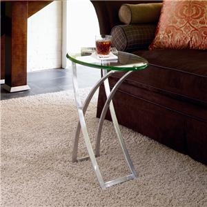 Century Omni Metal Chairside Table with Glass Top