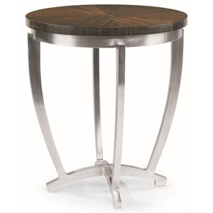 Chairside Table with Metal Base