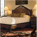 Century Marbella 661 Queen Size Bergantin Mahogany and Leather Bed  - Shown with Decorative Carmelo Drawer and Door Nightstand. Bed Shown May Not Represent Size Indicated.