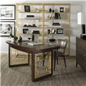 Century Monarch Fine Furniture Elton Desk with Leather Insert Top and Gold-Leaf Metal Design on Legs