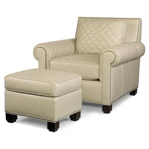 PLR-57  Roll Arm Chair & Ottoman w/ Quilting by Century