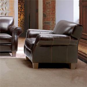 Chateau D'Ax 1681 Transitional Leather Chair with Rolled Arms and Tapered Feet