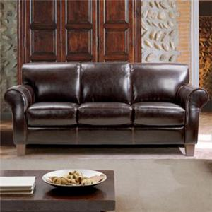 Chateau D'Ax 1681 Transitional Leather Sofa with Rolled Arms and Tapered Legs
