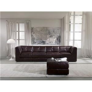 Enjoyable Chateau Dax U745 Leather 5 Piece Modular Sectional Sofa Caraccident5 Cool Chair Designs And Ideas Caraccident5Info