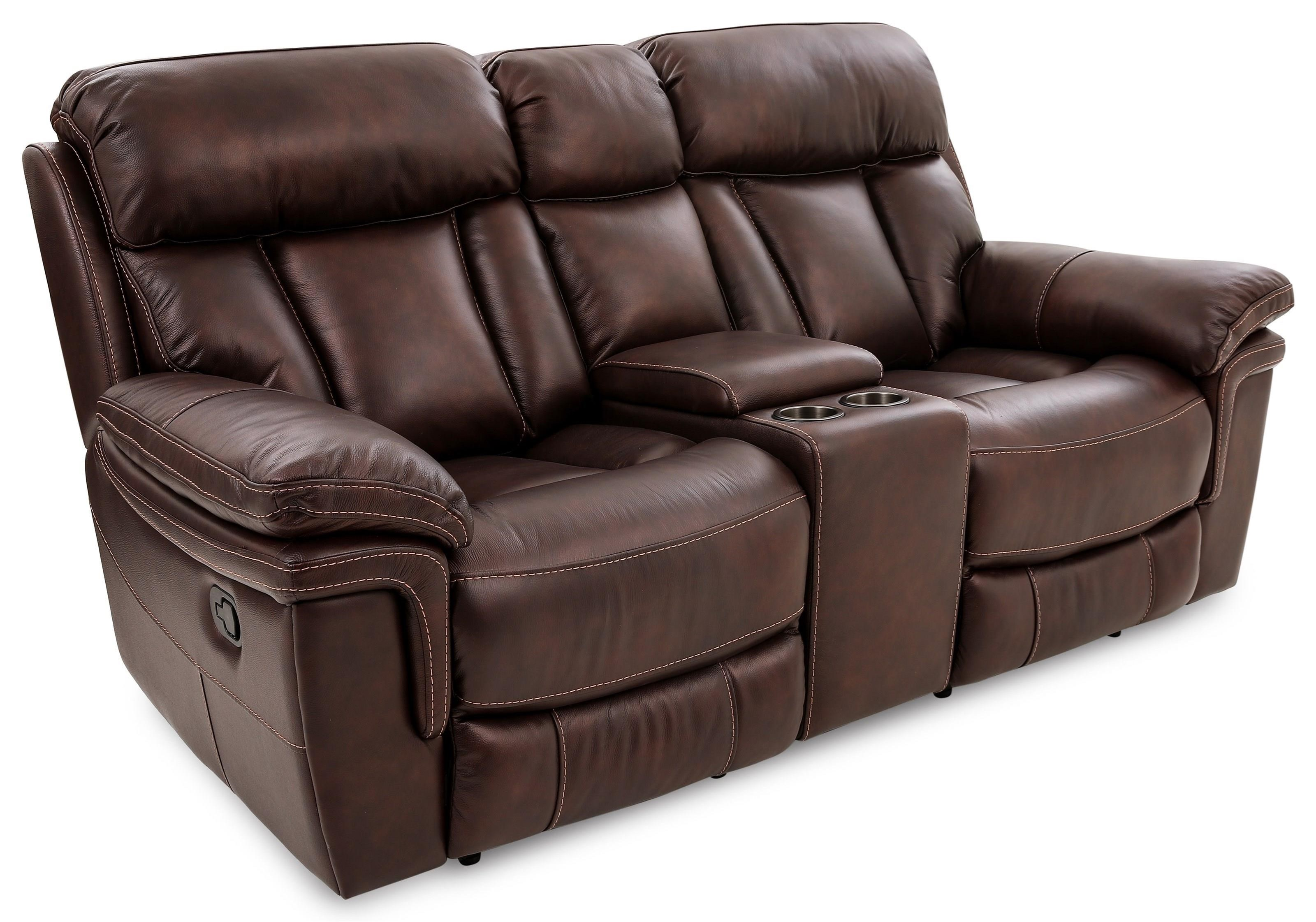 Bryant LEATHER RECLINING LOVESEAT W/CONSOLE at Walker's Furniture