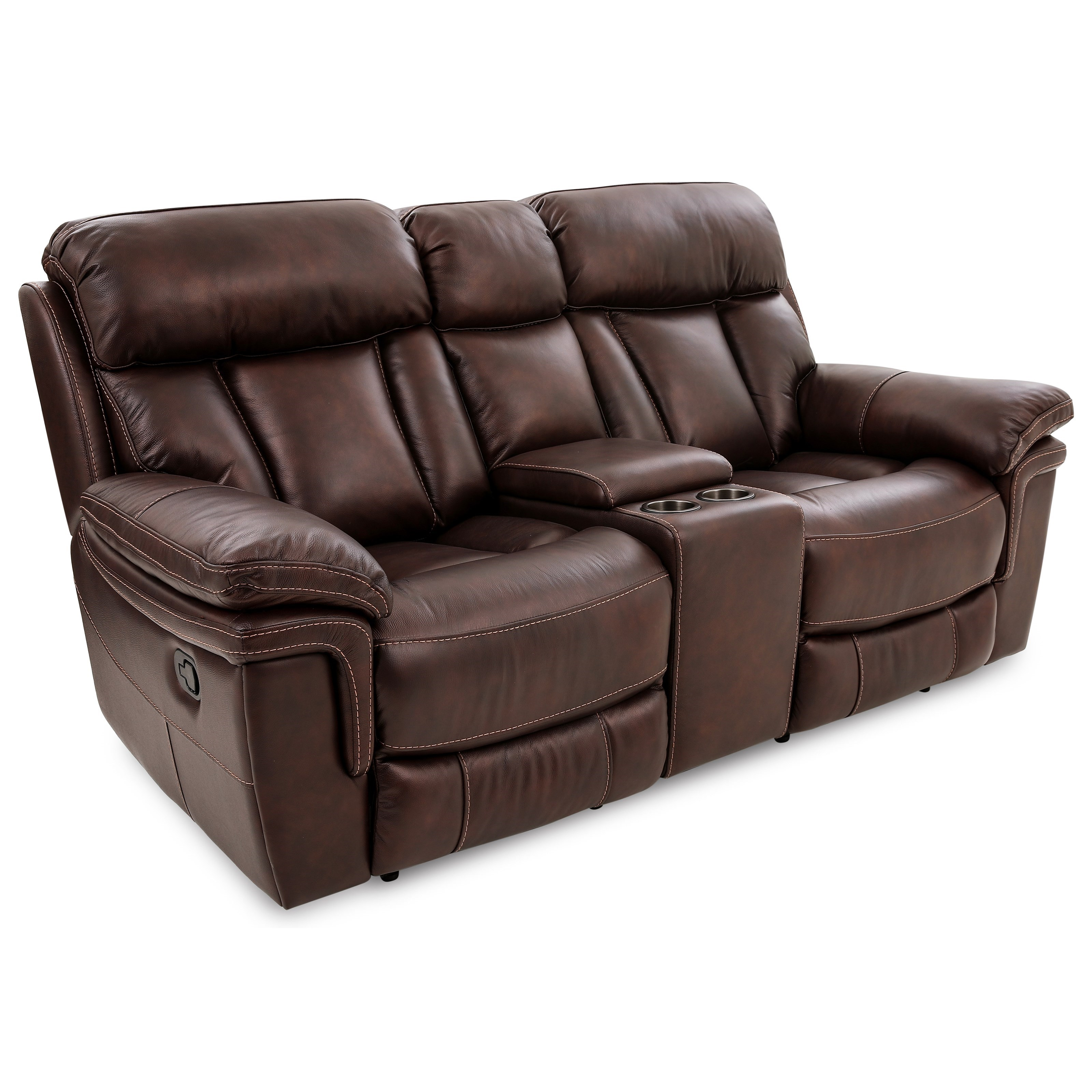 Bryant Power Leather Reclining Loveseat W/CONSOLE at Walker's Furniture