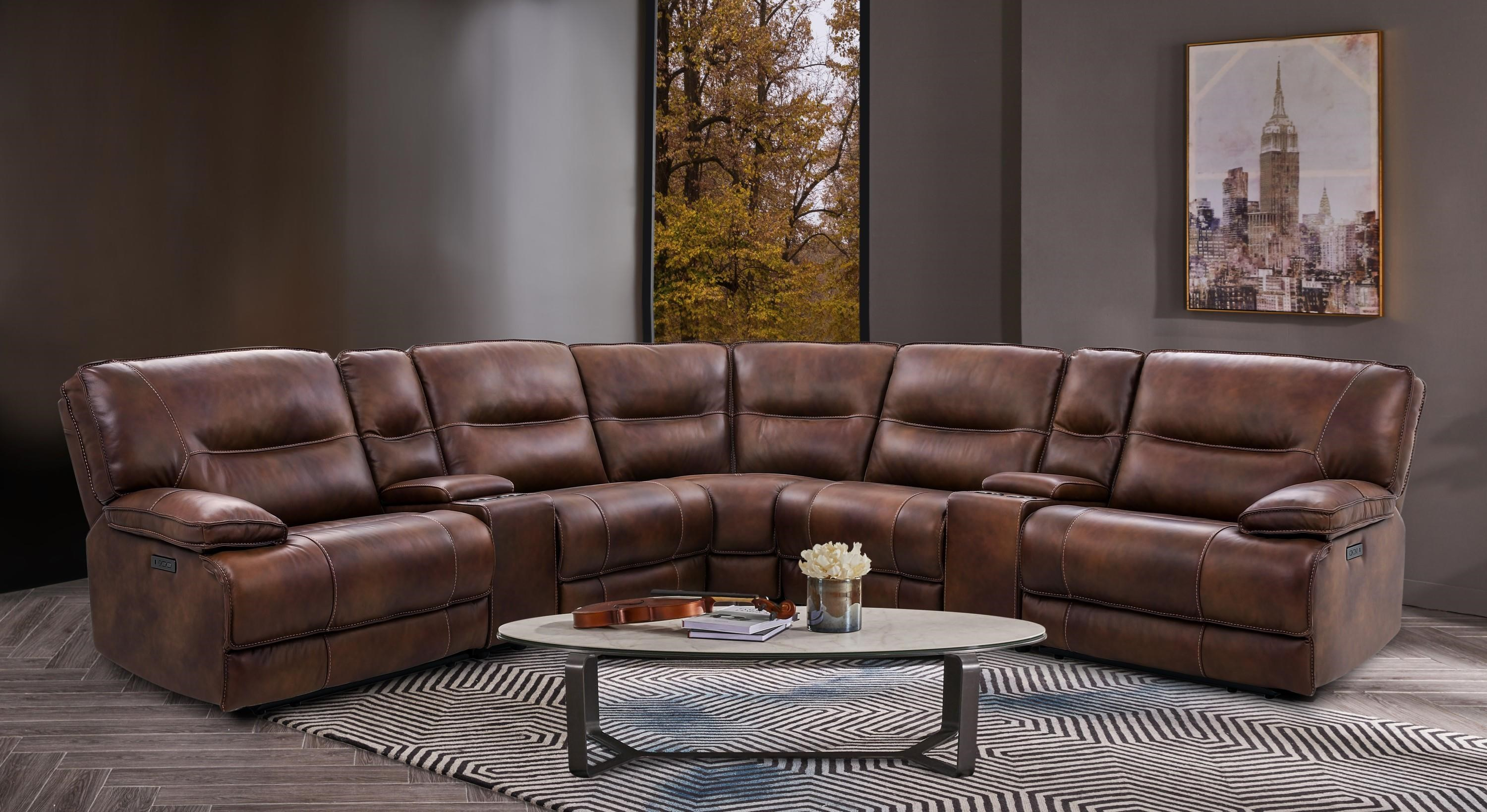 7 Piece Leather Power Reclining Sectional