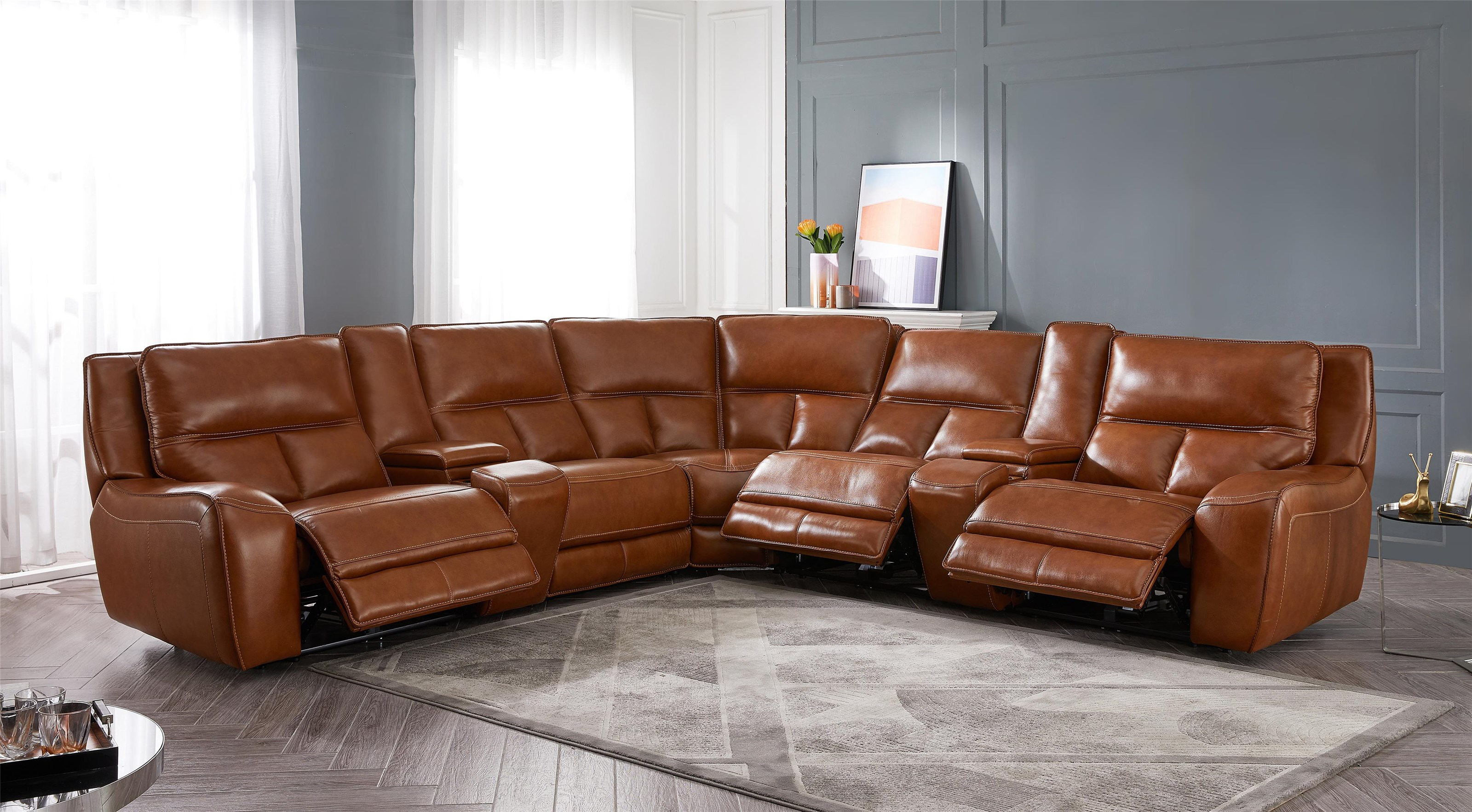 ManWah 7 Piece Reclining Sectional by Alex Express at Northeast Factory Direct