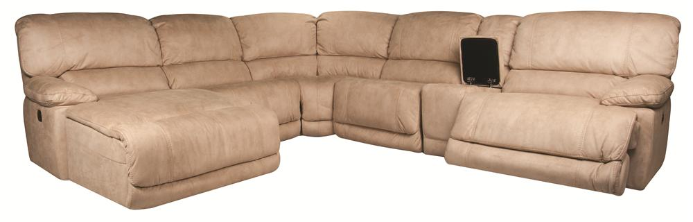 Morris Home Furnishings Sandra Sandra 6-Piece Power Reclining Sectional  - Item Number: 134032088
