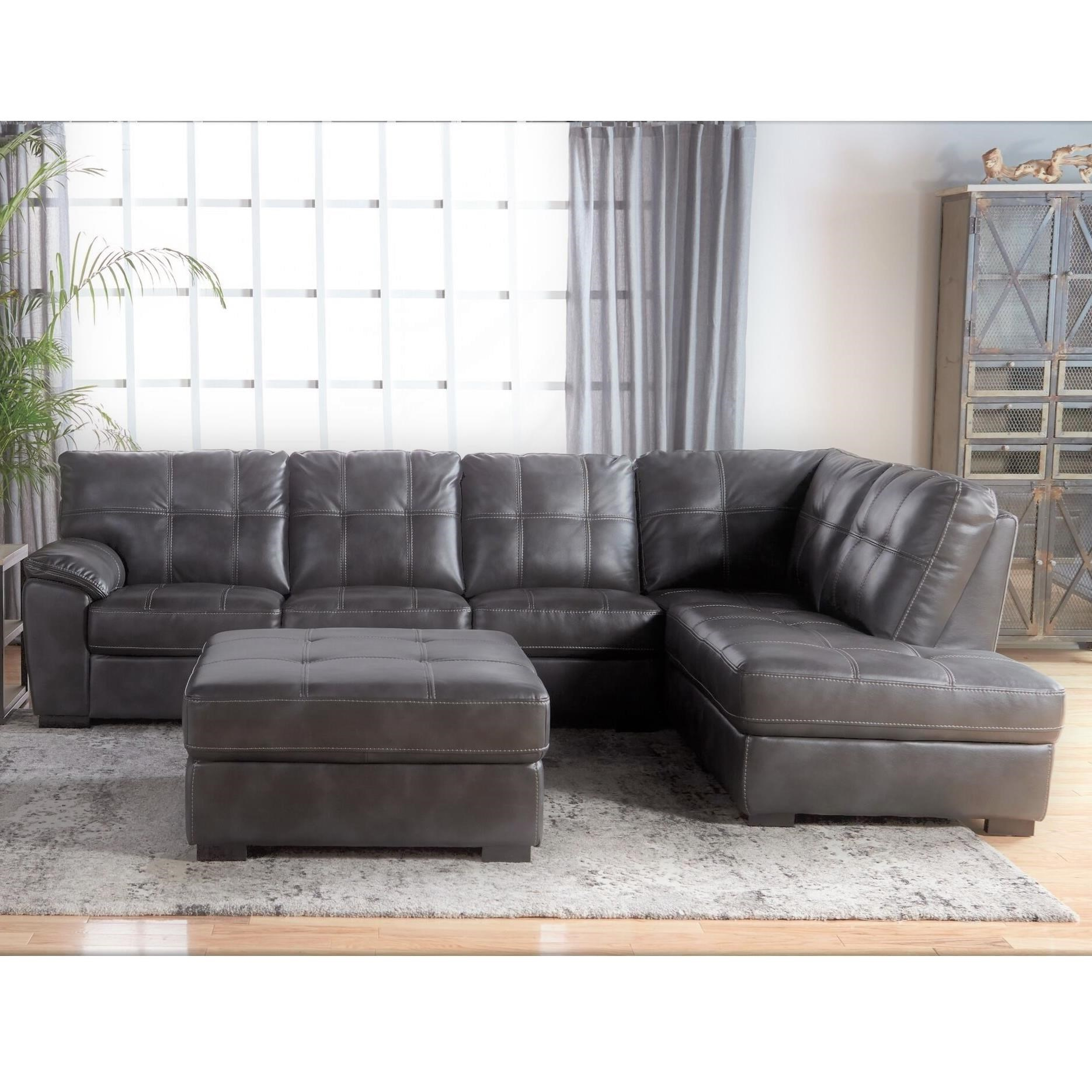 Tufted Sectional with Bumper Chaise