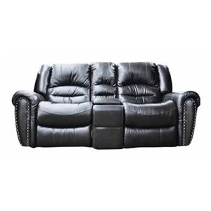 Cheers Sofa 8295 Leather Reclining Loveseat with Console
