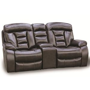 Cheers Sofa Leathaire Reclining Love Seat with console