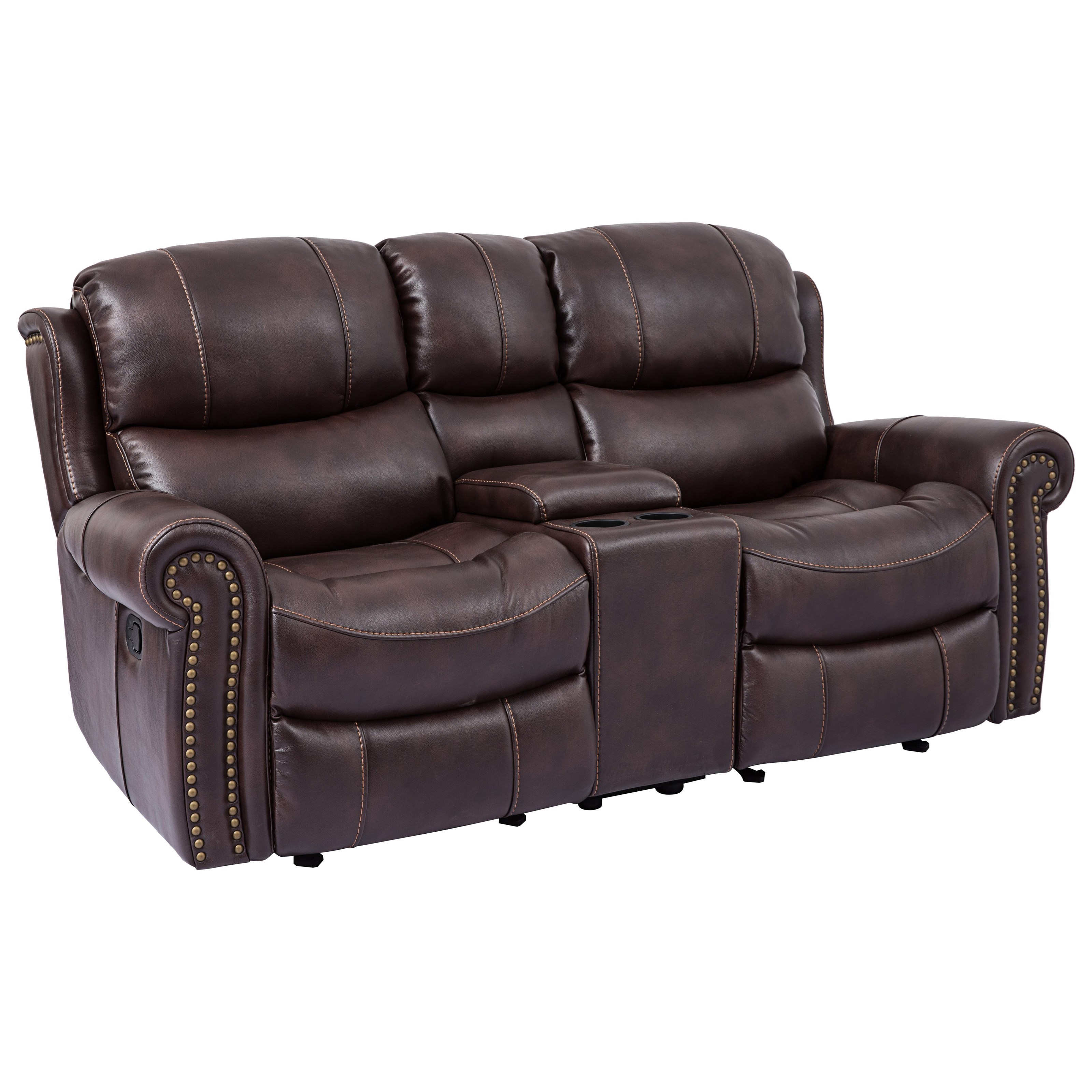 Cheers Piedmont Leather Reclining Loveseat With Rolled