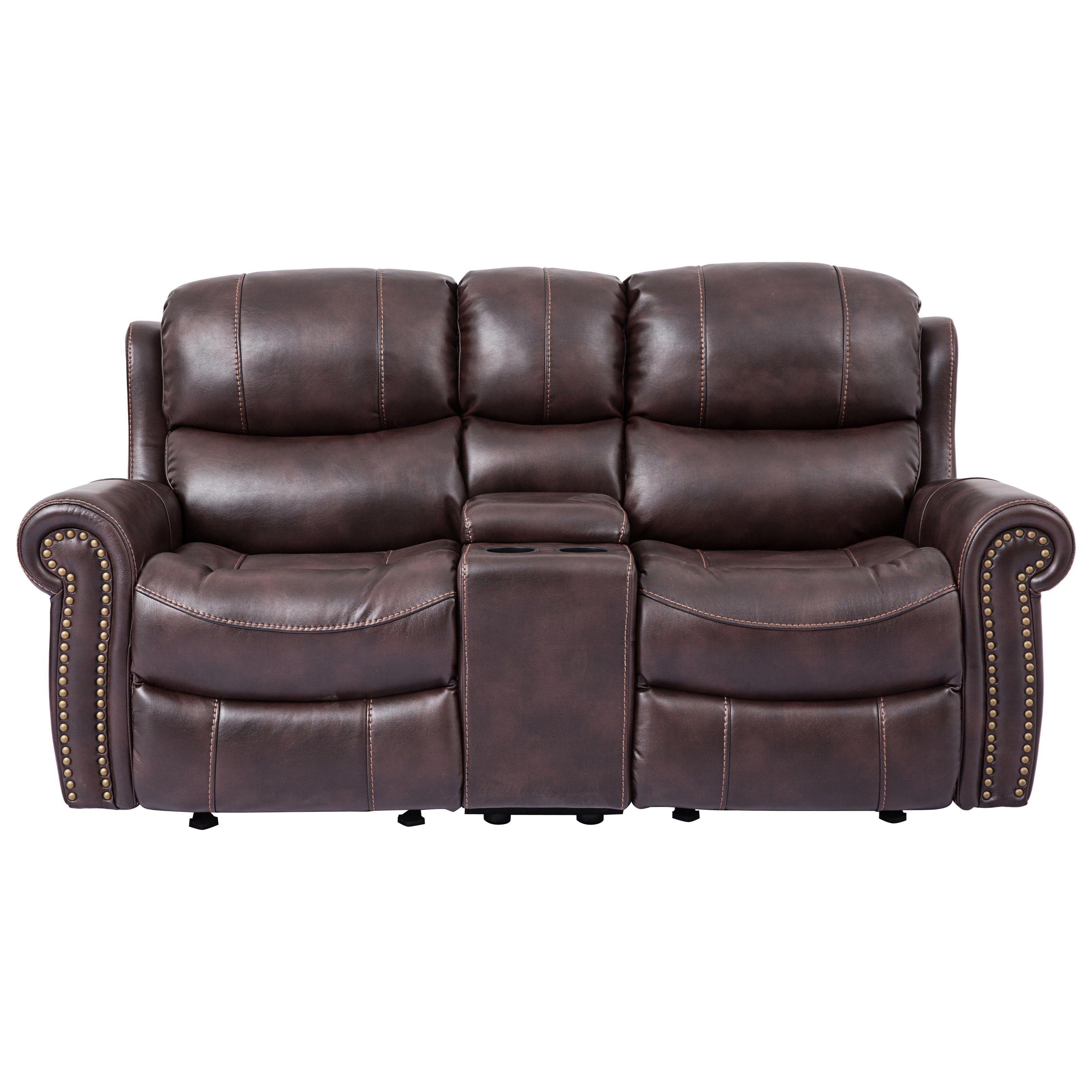 Incredible Piedmont Leather Reclining Loveseat With Console Ibusinesslaw Wood Chair Design Ideas Ibusinesslaworg