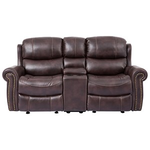 Living Room Cheers Sofa 9768 Reclining Loveseat With Console