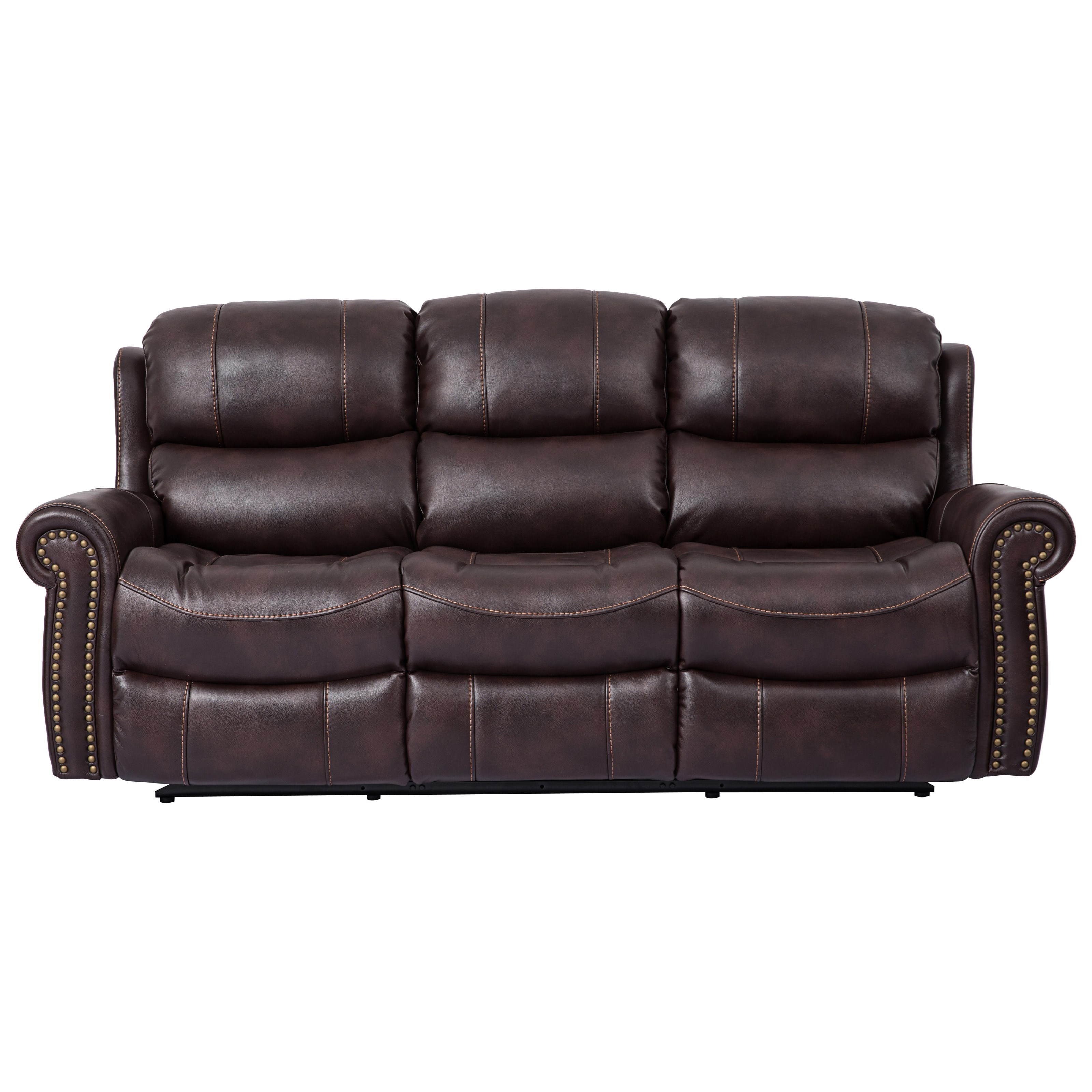 Piedmont Leather Dual Reclining Sofa with Rolled Arms by Cheers at Royal  Furniture