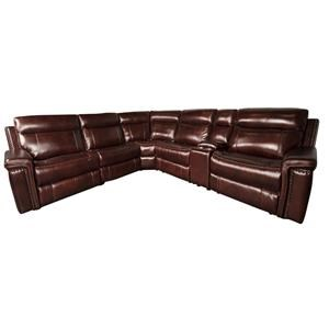 Morris Home Baxter Baxter Leather Match Power Sectional Sofa