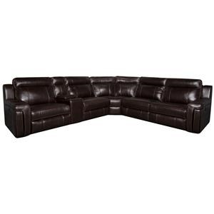 Morris Home Furnishings Roddrick Roddrick 6- Piece Leather-Match*  Power Sect