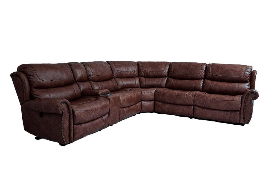 Cheers Sofa Tobacco 6 Piece Power Reclining Sectional - Item Number: CHEE-GRP-UWX1012-SECTIONAL