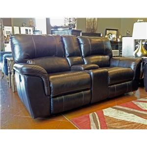 Cheers Sofa Brandy Leather Reclining Console Loveseat