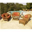 NorthCape International Charleston Wicker Coffee Table - Shown in Outdoor Setting with Sofa, Loveseat, Chair and End Table