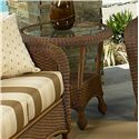 NorthCape International Monaco NC Woven Round Outdoor End Table with Glass Top