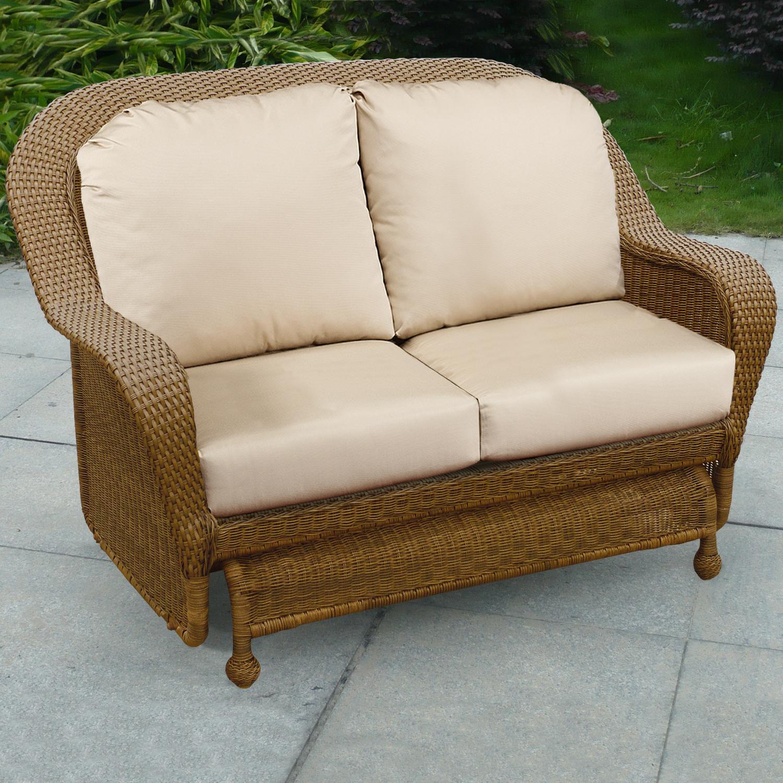 Outdoor Wicker Glider Sofa: Chicago Wicker Winward HK3293-WBG2 Cocoa Woven Deep Seat