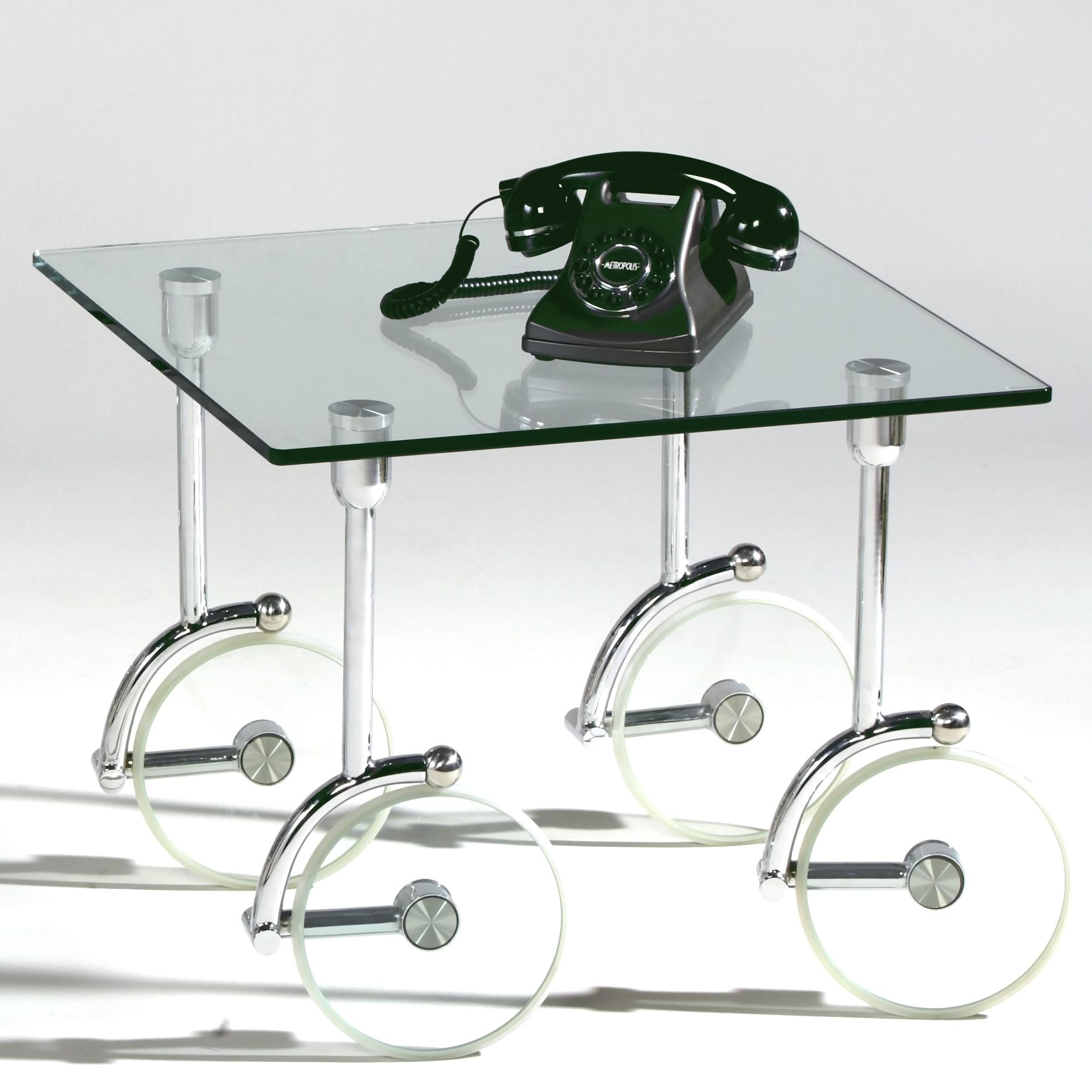 Glass Caster Lamp Table