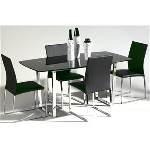 Chintaly Imports Marcy 5-Piece Glass Top Dining Set