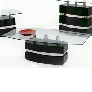 Boat Shape Glass Top Cocktail Table
