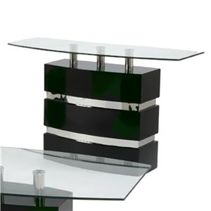 Boat Shape Glass Top Sofa Table