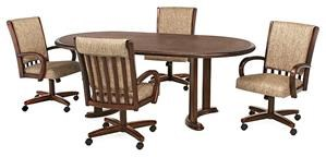 Chromcraft Custom Dining Oval Table w/4 Castered Chairs