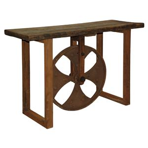 51003 Reclaimed Elm Sofa Table with Wheel by Classic Home