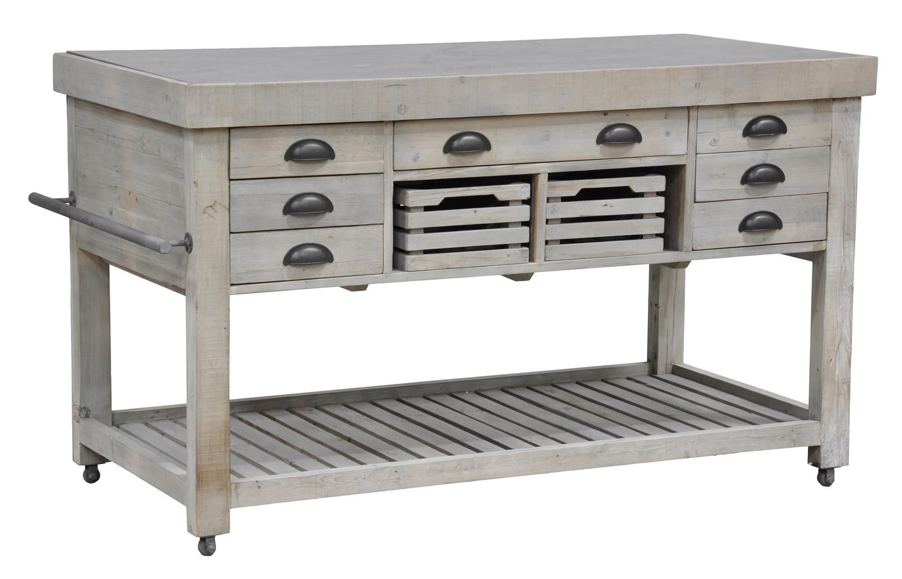 Classic Home Avery One of a Kind Natural Grey Kitchen Island - Item Number: 52002071
