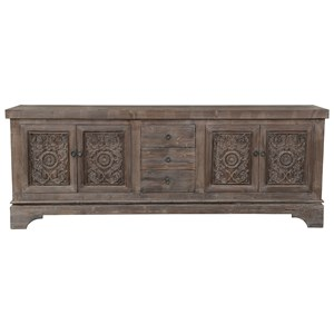 Antique Mocha Pine Wood Sideboard with Three Drawers, Four Doors, and Shelves