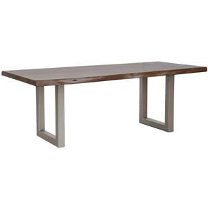 """Classic Home Kai 94"""" Solid Acacia Table with Iron Base"""