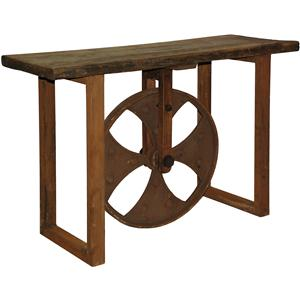 Roda Industrial Console Table with Decorative Wheel by Classic Home