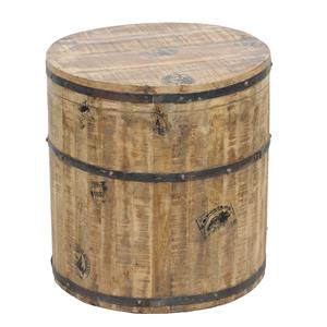 Classic Home Paris One of a Kind Round Barrel Side Table