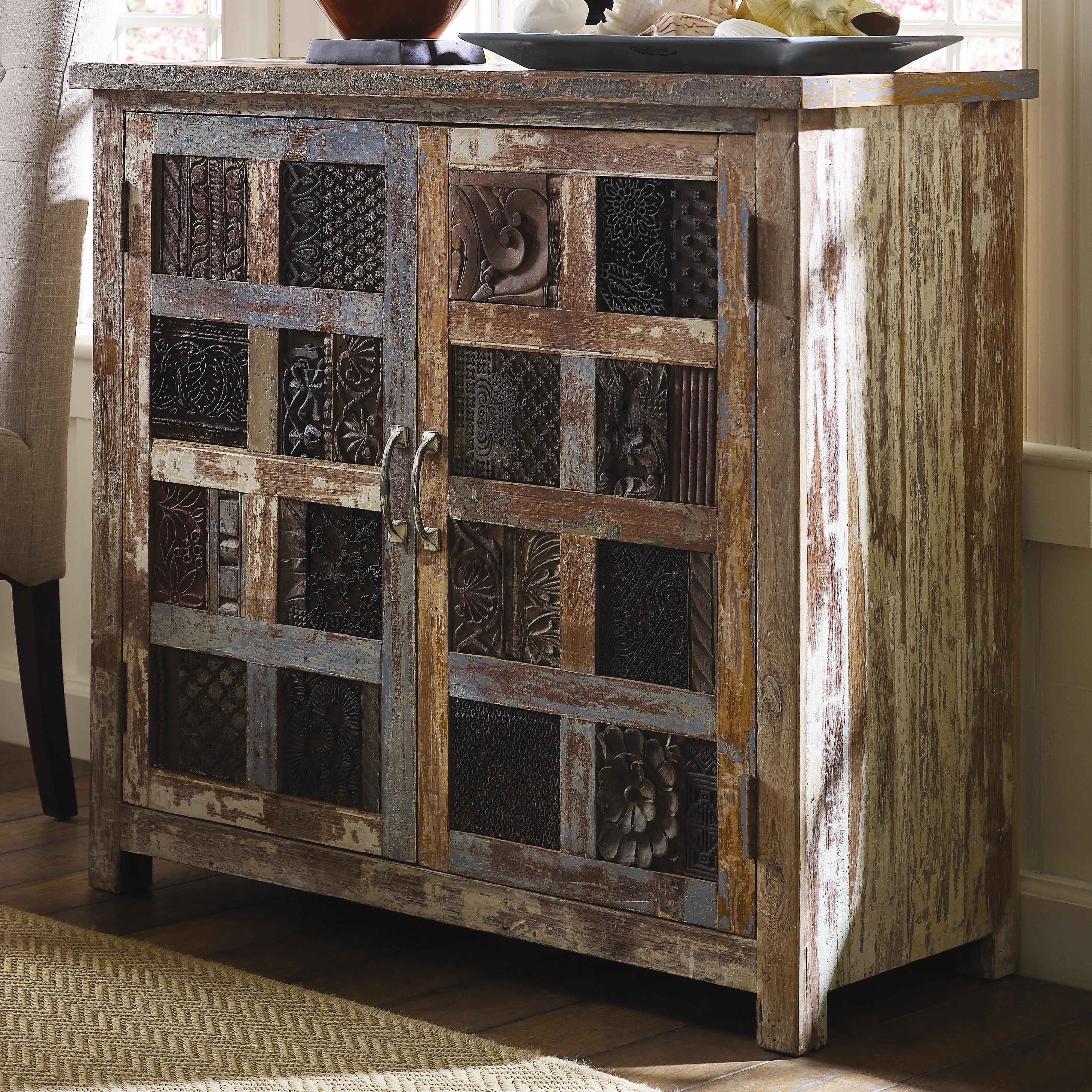 Classic Home Vintage Reclaimed Wood Print Block Cabinet