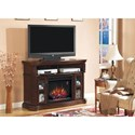 ClassicFlame Aberdeen Aberdeen Electric Fireplace Media Cabinet with Two Glass-Front Doors & Open Component Compartment