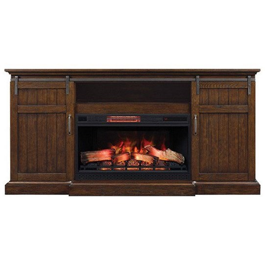 Cedar Crest Capella Barn Door Fireplace Media Mantel by ClassicFlame at Morris Home