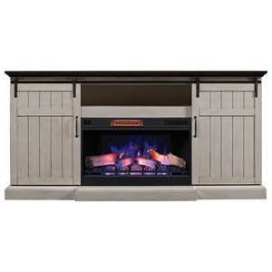 Barn Door Fireplace Media Mantel