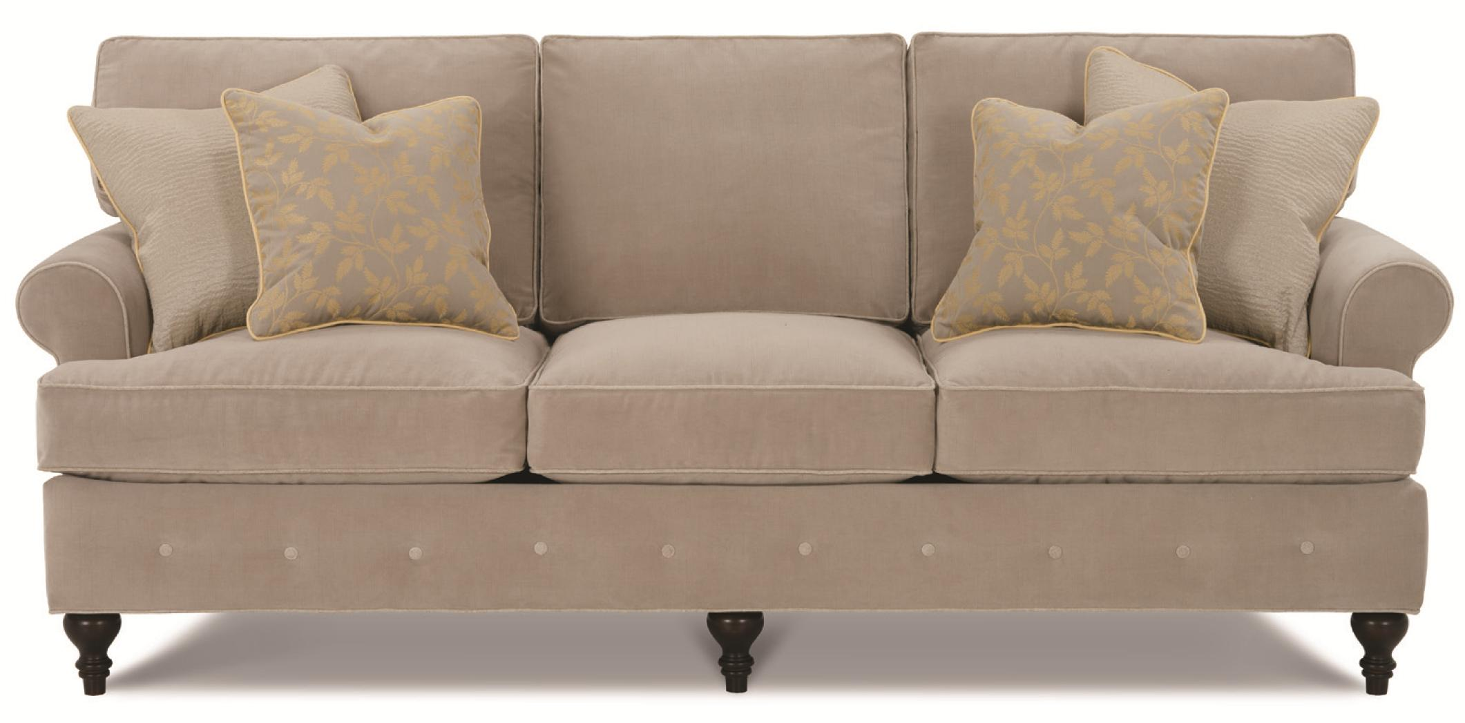 Kensington Collection   Gerrard Casual Loose Pillow Back Sofa With  Decorative Button Bench Trim By Clayton Marcus