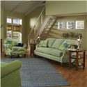 Clayton Marcus Madalyn Stationary Sofa with Exposed Wood Legs - 3813-02 - Shown with Stationary Chair