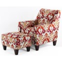 CMI Classic Chair Accents Chair & Ottoman Set - Item Number: CC2420+CC2421-Red Ikat